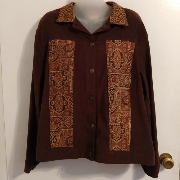 N Touch Jackets & Blazers - Tapestry Patchwork Patches Jacket Large